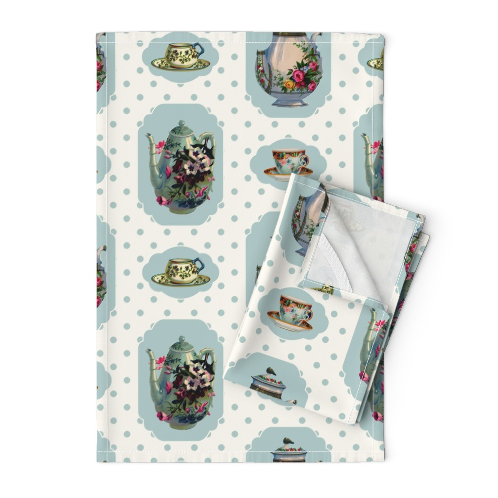 Orpington Tea Towels featuring Vintage Tea Set - Cream Background by grafixmom