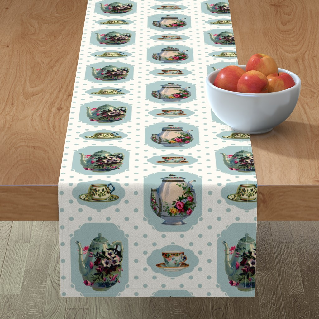 Minorca Table Runner featuring Vintage Tea Set - Cream Background by grafixmom