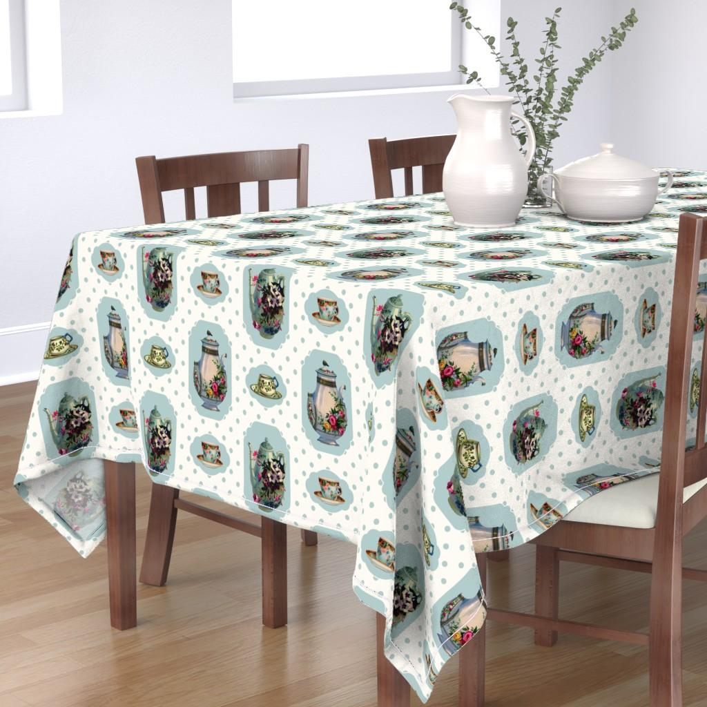 Bantam Rectangular Tablecloth featuring Vintage Tea Set - Cream Background by grafixmom