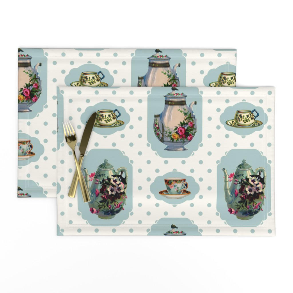 Lamona Cloth Placemats featuring Vintage Tea Set - Cream Background by grafixmom