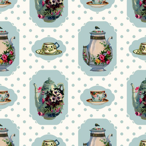 Vintage Tea Set - Cream Background