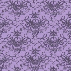 Raven Skull Damask Lavender