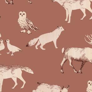 winter animals  (rust)