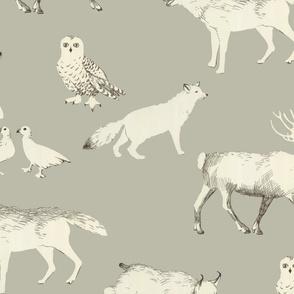 Winter animals (taupe)