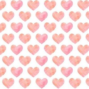 Pink + Peach Watercolor Hearts
