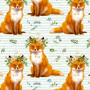 "4"" Bohemian Spring Fox - Green Stripes"