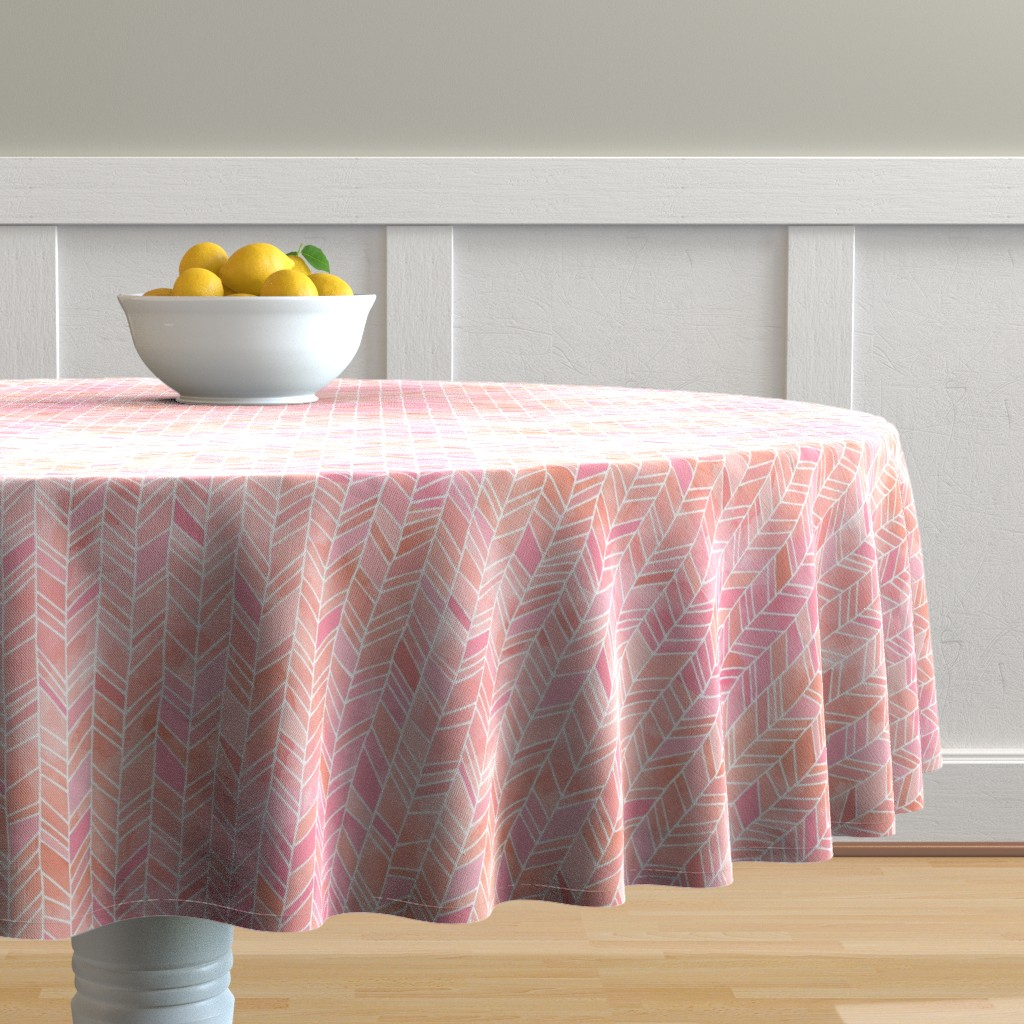 Malay Round Tablecloth featuring Pink + Peach Watercolor Chevron Herringbone by gingerlous