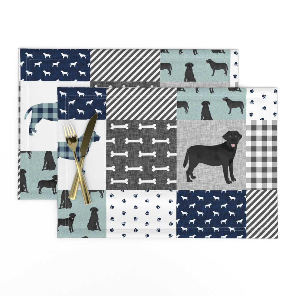 Lamona Cloth Placemats featuring black lab cheater pet quilt b dog breed quilt pattern wholecloth labrador retrievers by petfriendly