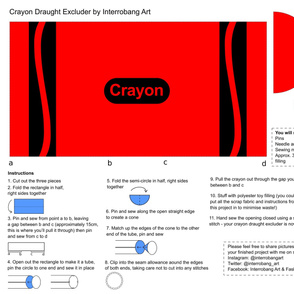 Red Crayon Draught Excluder Cut & Sew