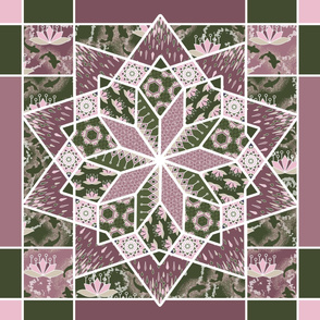 Star Quilt Squares in Pink Rose and Olive Green, Wholecloth Quilt