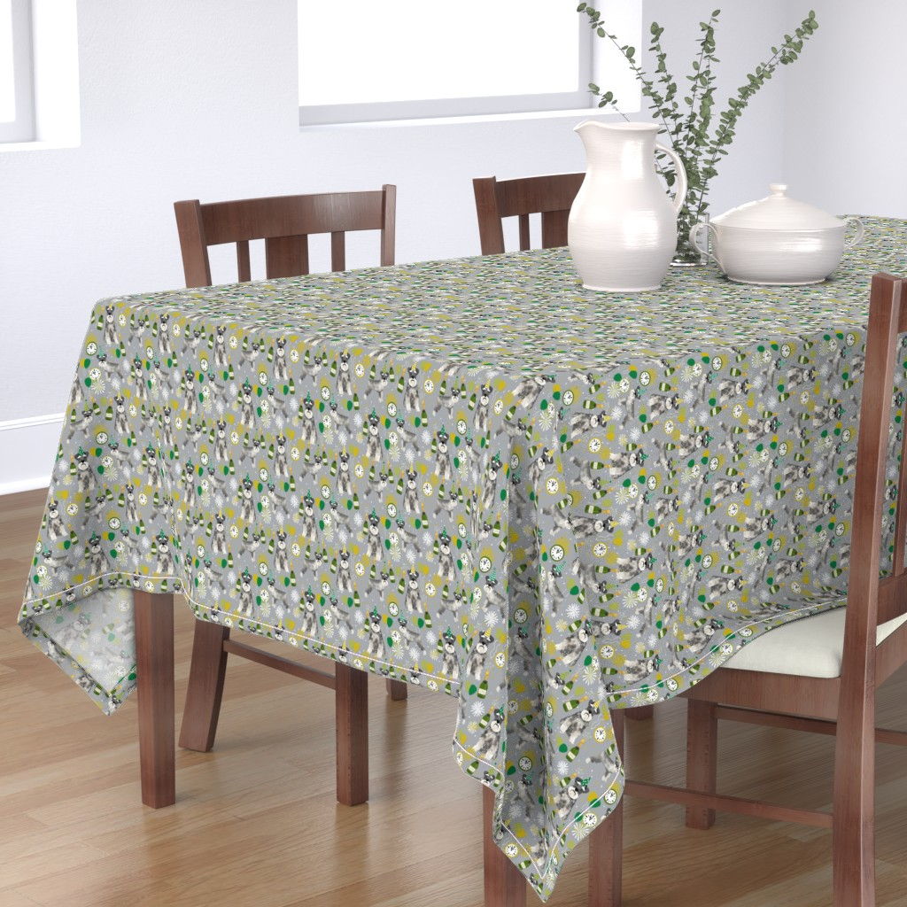 Bantam Rectangular Tablecloth featuring schnauzer new years even fabric - fireworks holiday celebration design - grey by petfriendly