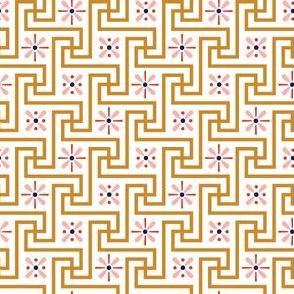 Floral Meander* (Gold Seal) || geometric Egypt Egyptian flowers asterisk flower floral vintage mustard