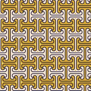 Secret Passage* (Gold Marilyn) || Egypt Egyptian geometric meander interlocking polka dots optical illusion mustard