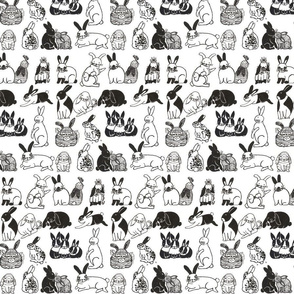 Bunnies Black and White