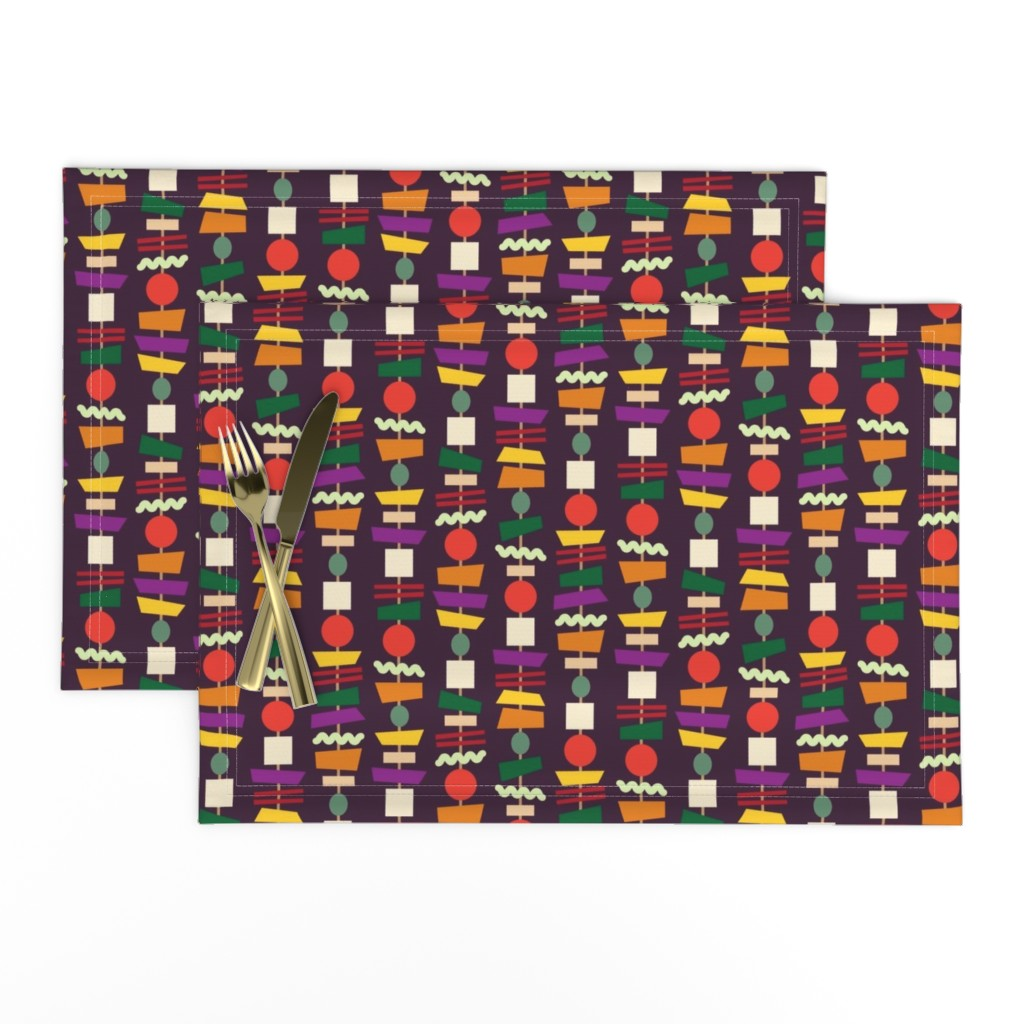 Lamona Cloth Placemats featuring Veggie Kebabs (aubergine) by seesawboomerang