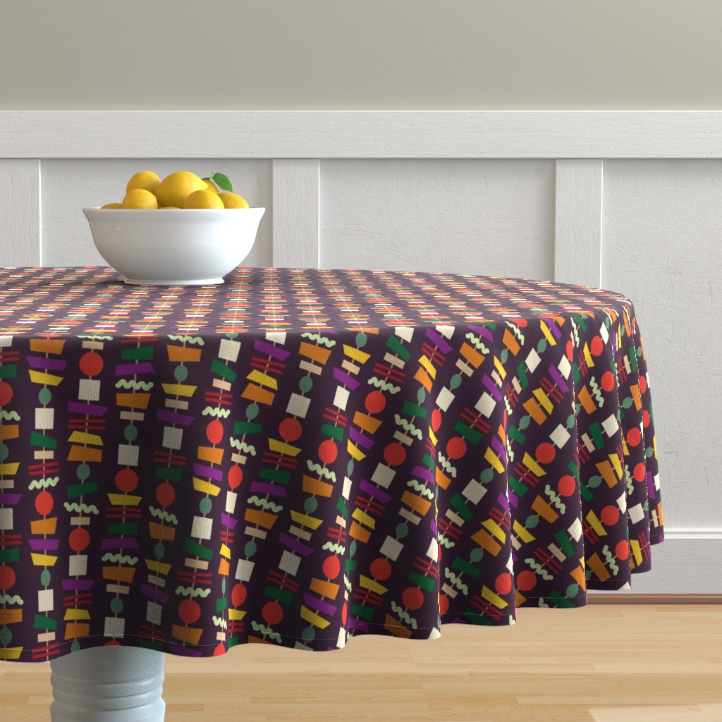 Malay Round Tablecloth featuring Veggie Kebabs (aubergine) by seesawboomerang