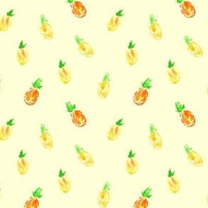 Baby pineapples on cream