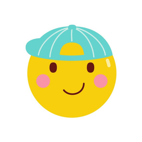 cheeky emoji faces boy with cap hat