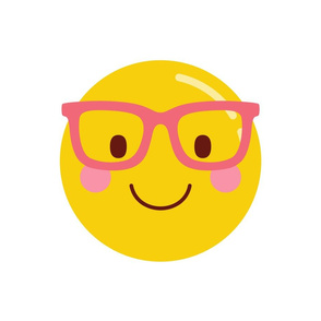 cheeky emoji faces nerd glasses pink