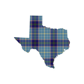 "Texas silhouette - 18"" greyed bluebonnet tartan on white"