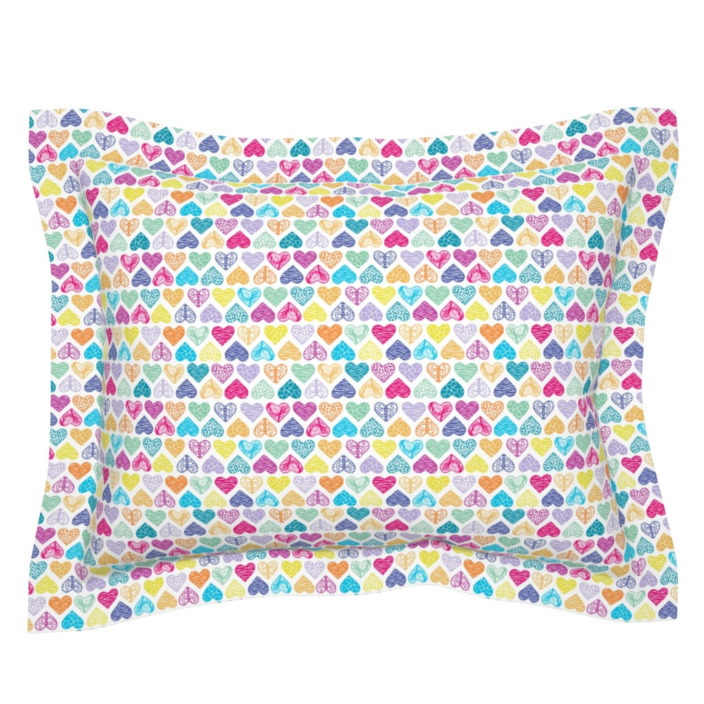 Sebright Pillow Sham featuring Wild Hearts Rainbow by christinemay