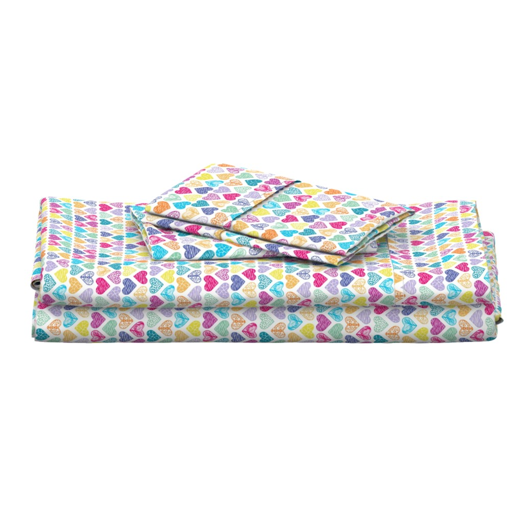 Langshan Full Bed Set featuring Wild Hearts Rainbow by christinemay