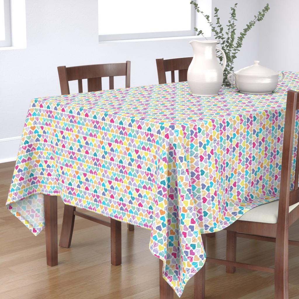 Bantam Rectangular Tablecloth featuring Wild Hearts Rainbow by christinemay