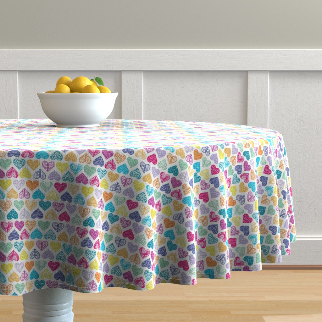 Malay Round Tablecloth featuring Wild Hearts Rainbow by christinemay