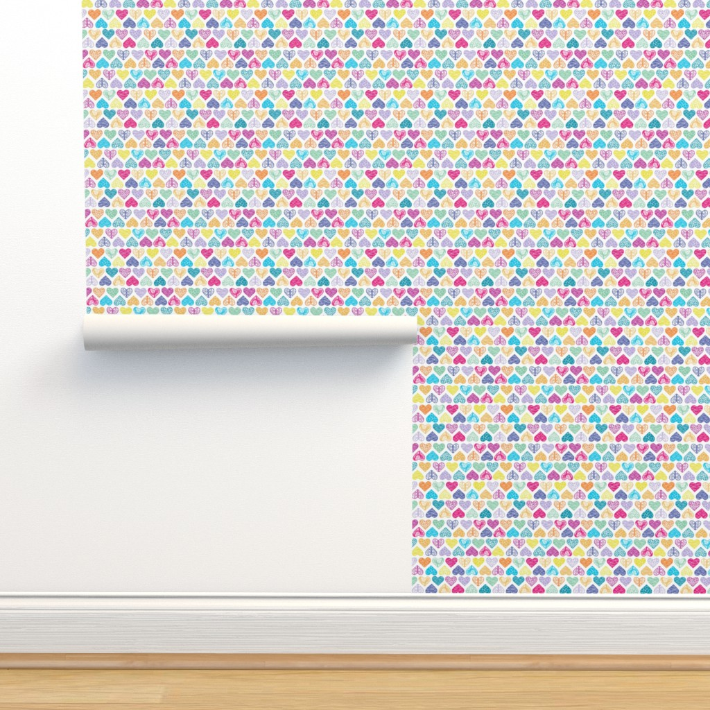 Isobar Durable Wallpaper featuring Wild Hearts Rainbow by christinemay