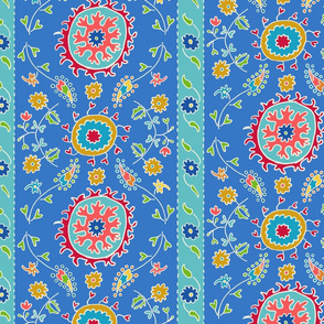 Suzani Wide Stripes Blue Turquoise Multi