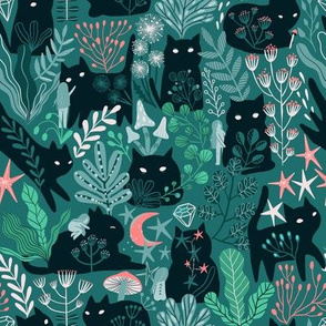 green forest, cute cats, fairy girl elves.