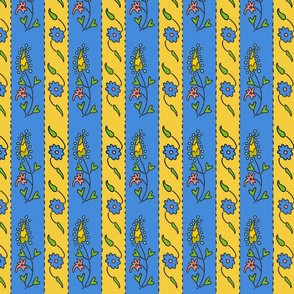 Suzani Narrow Stripe Blue Yello