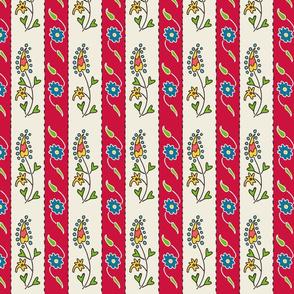 Suzani Narrow Stripe Red White Blue