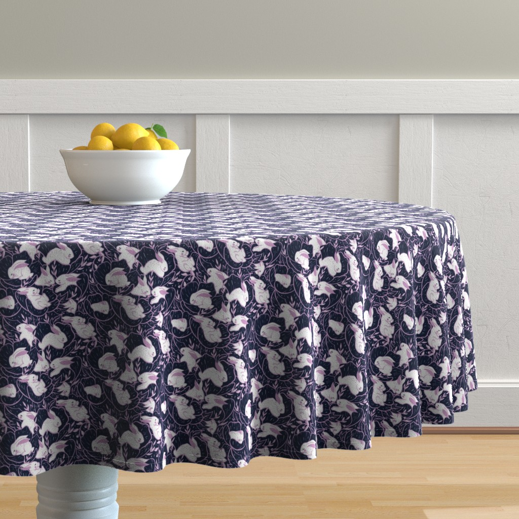 Malay Round Tablecloth featuring Where the bunnies sleep (miniature) by elena_naylor