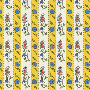 Suzani narrow stripe yellow, white, blue