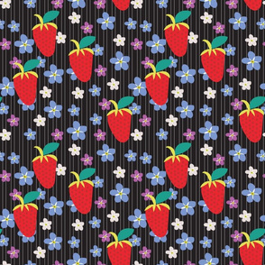 Summer Black Stripe, Black fabric, Strawberry fabric, Violet flowers, Scattered flowers