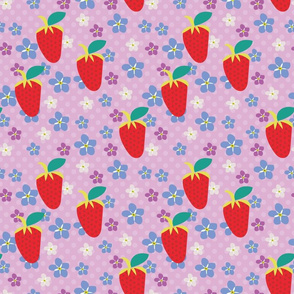 Summer Orchid Polka Dots, Orchid fabric, Scattered Flowers, Red strawberries, Violet flowers