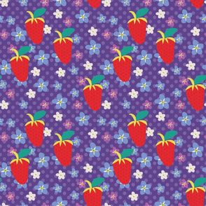 Summer Purple Polka Dots, Purple Fabric, Red Strawberries, Violet flowers, Kitchen fabric, Floral fabric