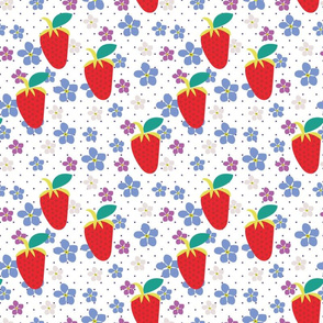 Summer White, Polka Dots, Fruit fabric, Strawberry fabric, Violet flowers, Scattered flowers, Kitchen fabric, Floral Fabric