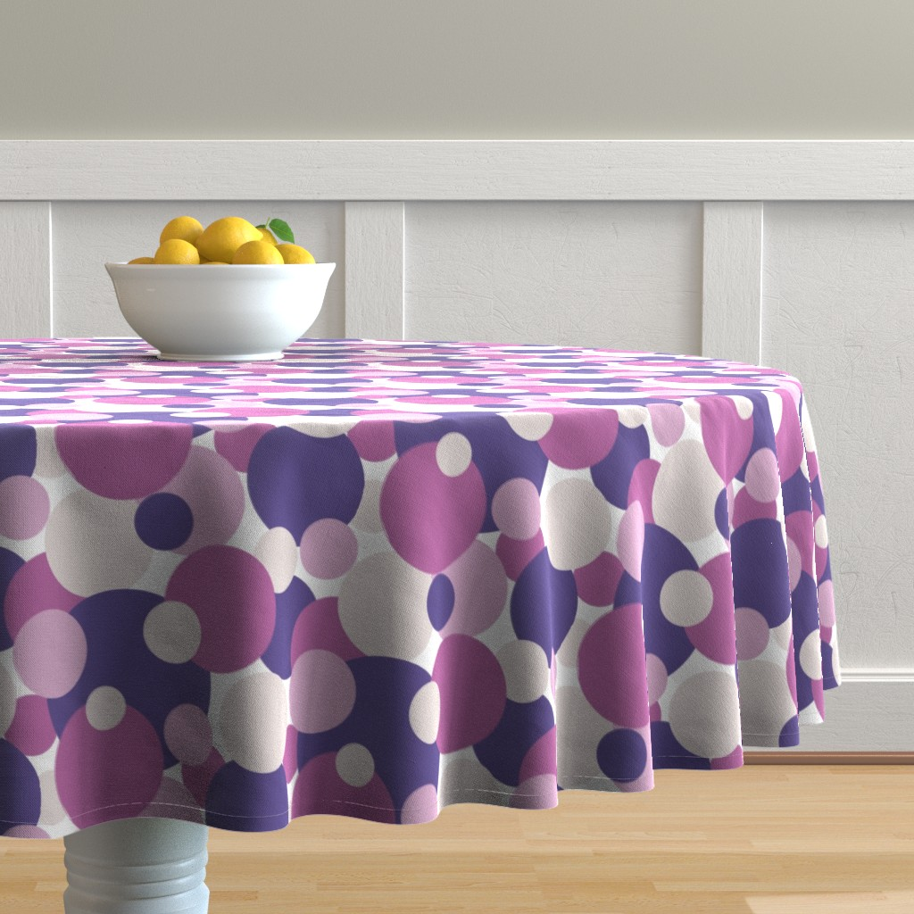 Malay Round Tablecloth featuring Ultra Violet Pink Lavender Dots by kaldreadesigns