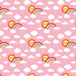 aloha clouds sun rainbow on pink