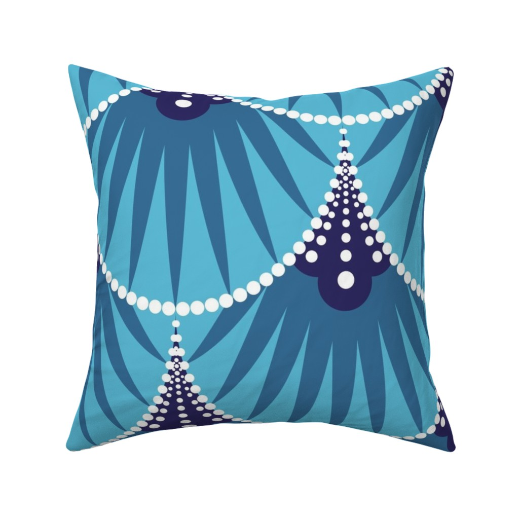 Catalan Throw Pillow featuring Art Deco Scales by heatherhightdesign