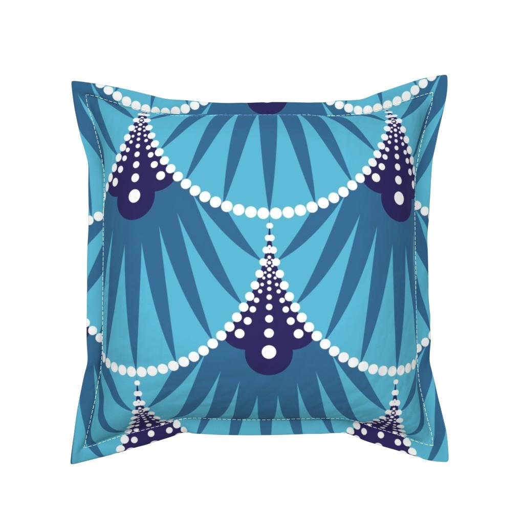 Serama Throw Pillow featuring Art Deco Scales by heatherhightdesign