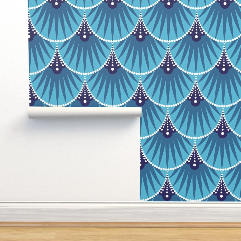 Isobar Durable Wallpaper featuring Art Deco Scales by heatherhightdesign