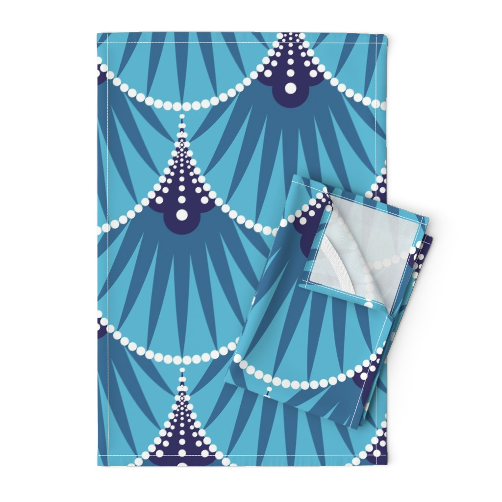 Orpington Tea Towels featuring Art Deco Scales by heatherhightdesign