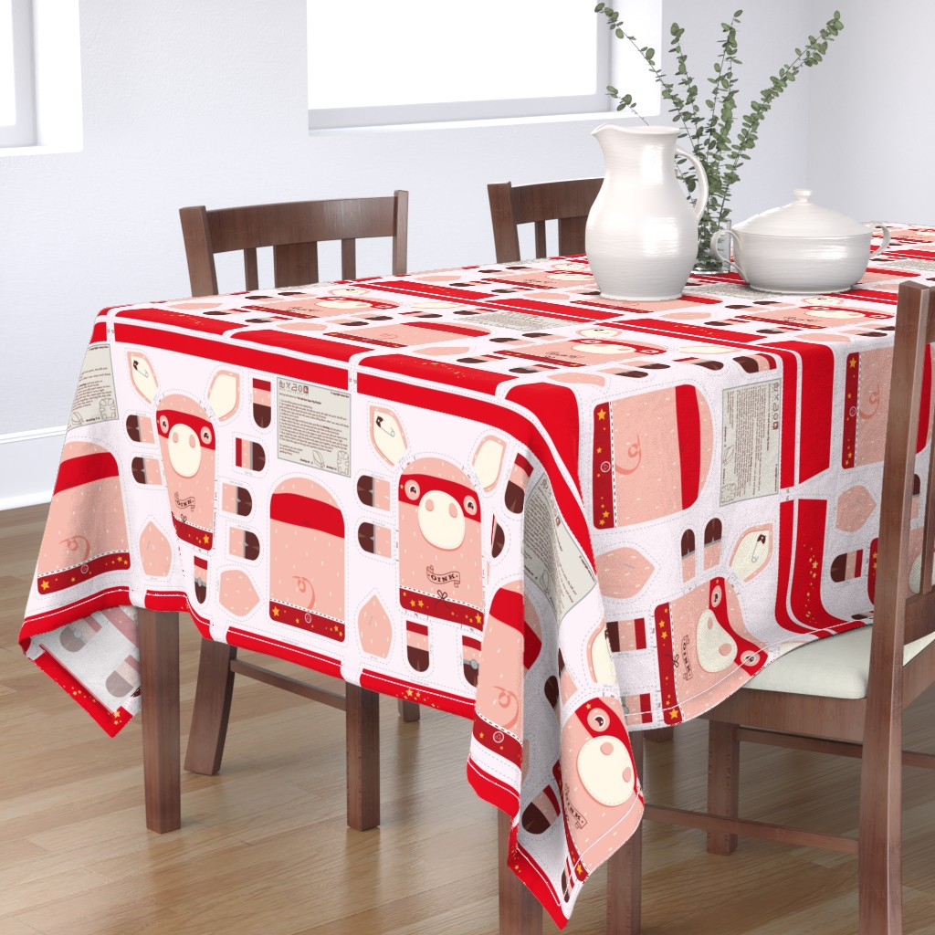Bantam Rectangular Tablecloth featuring Incredible Super Pig by verycherry