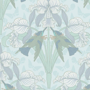 Art Nouveau Iris and Hummingbirds