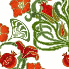 Art Deco Pomegranate White