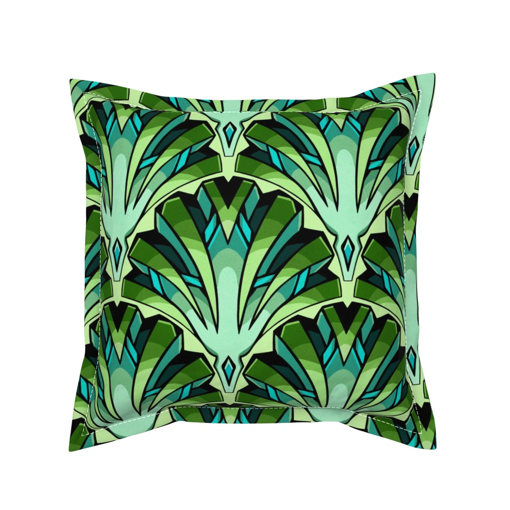 Serama Throw Pillow featuring Art deco Jade by marta_strausa