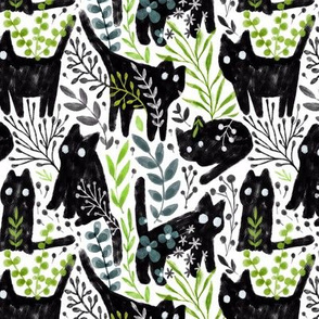 Gouache black cat and botanical leaves design